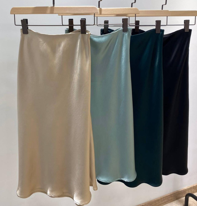 Brand Fashion Women High-end Luxury Summer Vintage Elegant Silk Midi Skirt