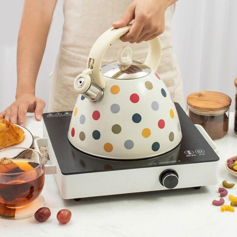 3L إبريق شاي بصفارة من الفولاذ المقاوم للصدأ مع مقبض مقاوم للحرارة متوافق مع أواني الطهي المختلفة