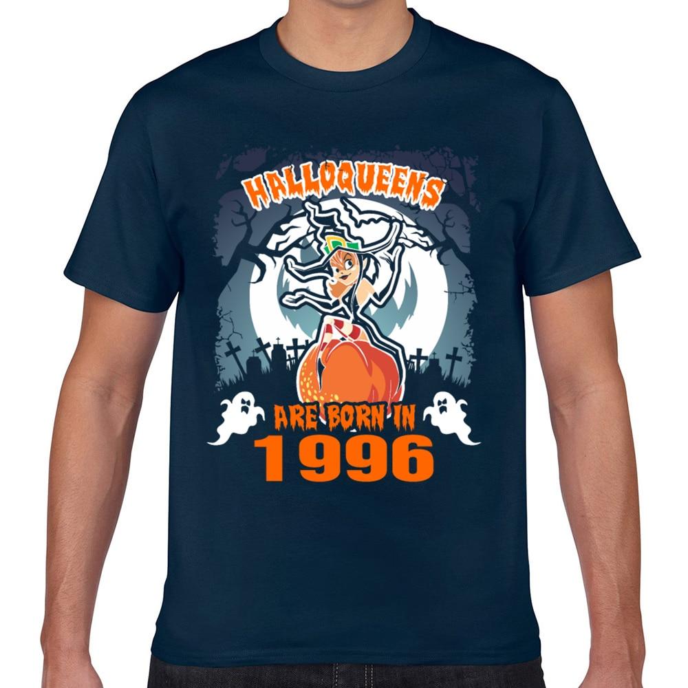 Topos t camisa masculina halloqueens nascem em 1996 verão branco geek curto masculino tshirt xxx