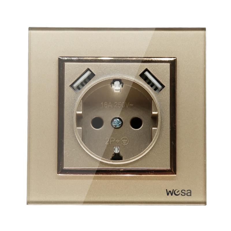 2019 nuevo diseño doble USB decorativo enchufe de pared 5V 2A oro Marco de vidrio templado FB-19