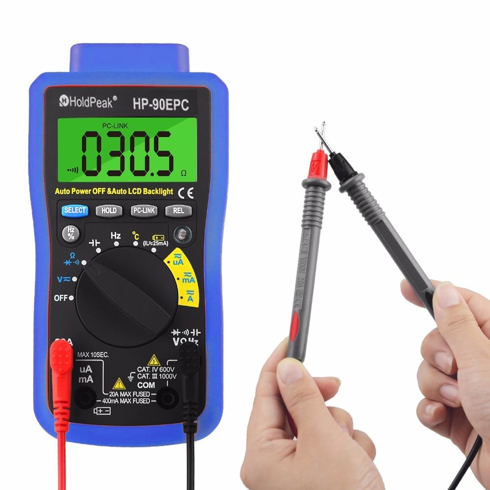 الجهد الرقمي المتعدد Autoranging HP-90EPC التيار المتناوب/تيار مستمر الجهد متر اختبار للتيار ، فولت إلى 1000 فولت ، المقاومة ، السعة ، درجة الحرارة