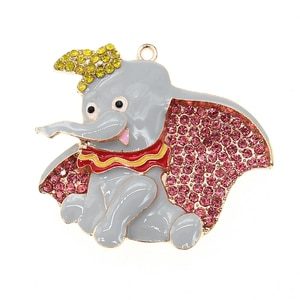 10pcs/lot  Fashion Jewelry Rhinestone Animal Elephant Shape Pendant For Necklace