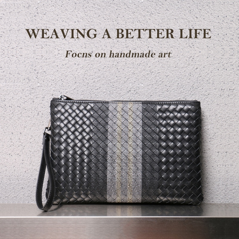 Men Clutch Bag 100% Leather Cowhide Large Capacity Soft Woven Handbags Luxury Brand Design Business Bag 2021 New Fashion Spot