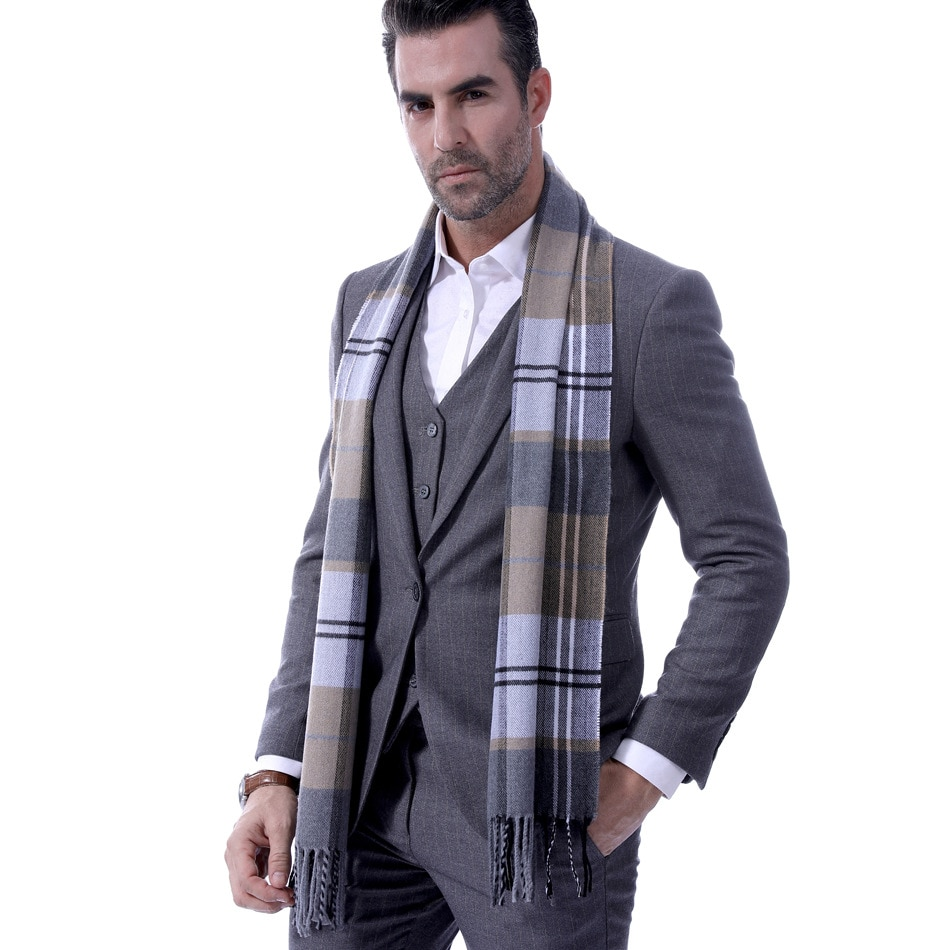 New Plaid men's scarf men's Korean version of middle aged and elderly students' fringed warm neck