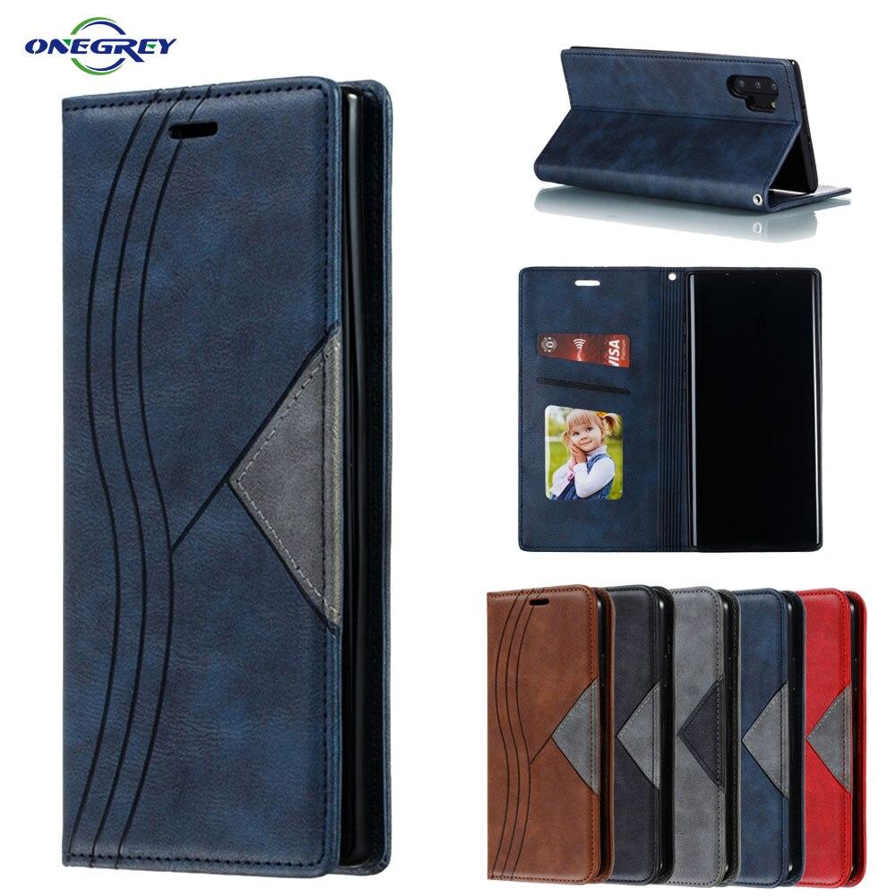 Funda de cuero de lujo S20ultra con tarjetero para Samsung Galaxy Note 10 9 8 S20 S10 E S9 S8 Plus 5G cubierta de protección magnética para teléfono