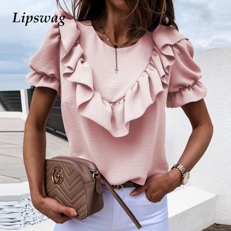 Женская Элегантная блузка с коротким рукавом и оборками на плечах, летние топы с круглым вырезом 2020, женские офисные повседневные однотонны...