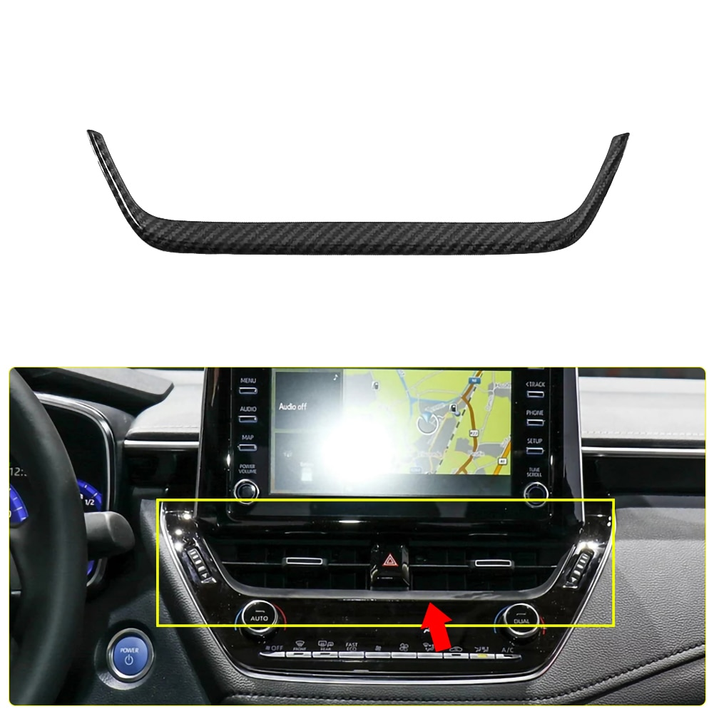 Car ABS Carbon Fiber Navigation Strip Cover Center Air Outlet Cover Trim for Toyota Corolla 2019 2020 Interior Cover Sticker