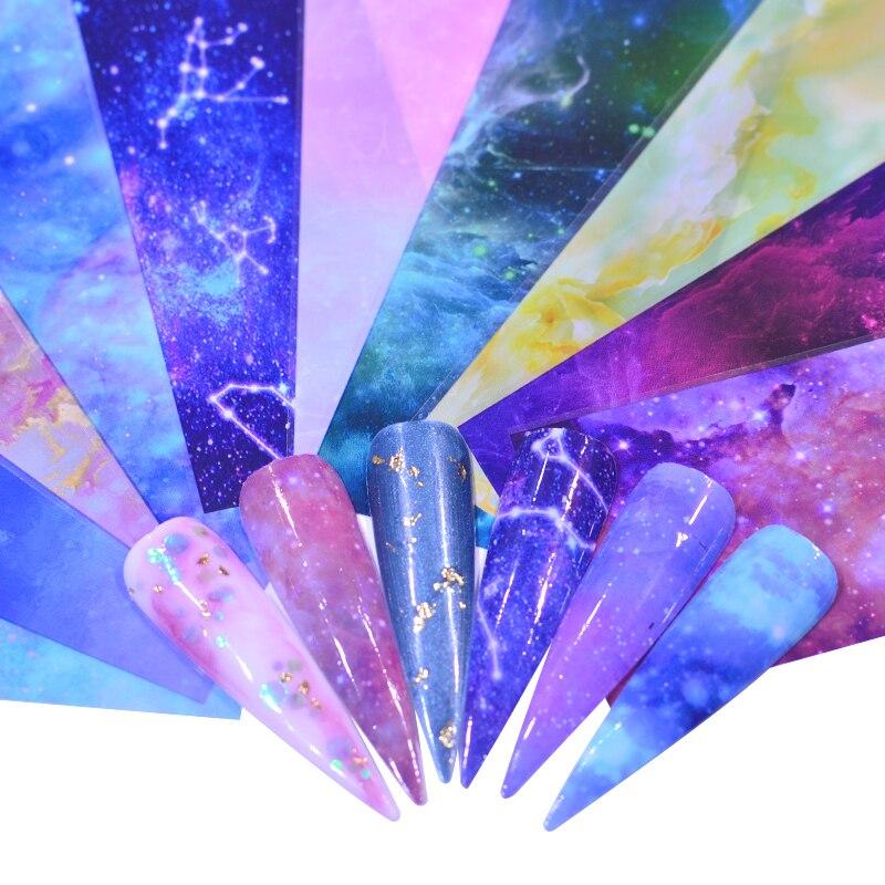 Розовая/Цветочная металлическая фольга для ногтей YZWLE, слайдер, голографическая переводная пленка, клейкая пленка, Звездный маникюр, декор ...