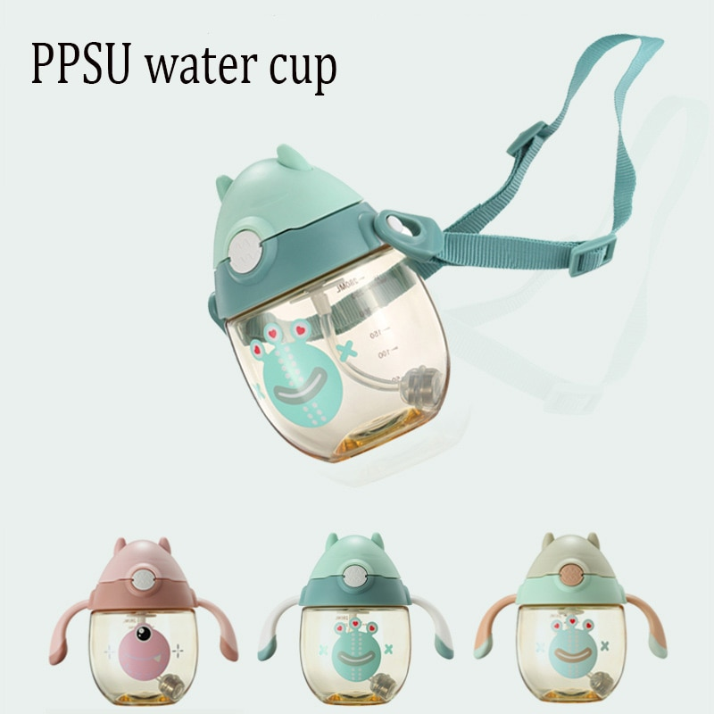 baby straw cup printed anti suffocation handle VALUEDER 280ml children's straw cup baby learning drink cup with handle baby anti-leakage anti-choking water bottle PPSU+PP