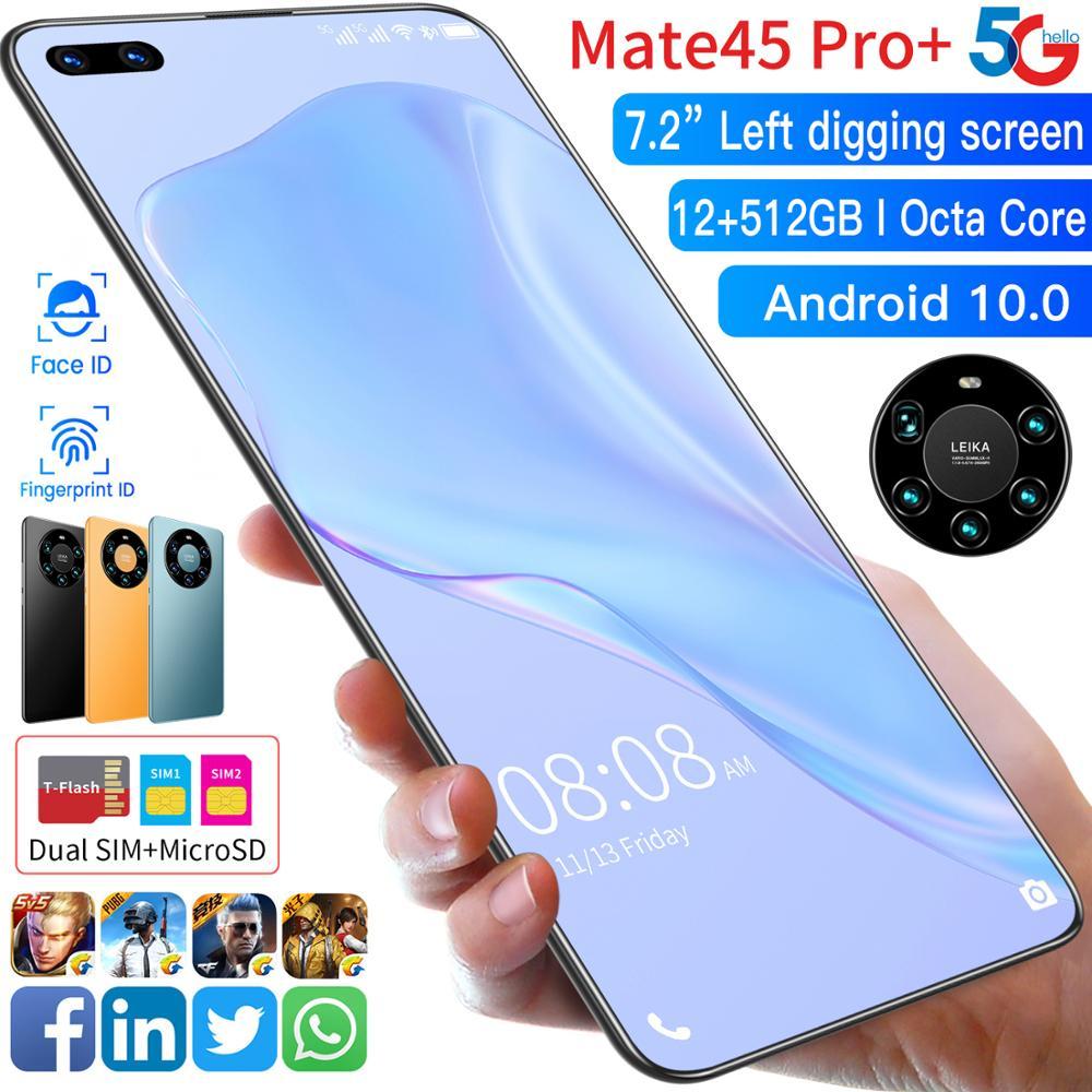 هاتف huawei-Mate45 Pro ، شاشة كاملة 7.2 بوصة ، هاتف ذكي ، ثماني النواة ، 5000 مللي أمبير ، 8 جيجا بايت رام ، 256 جيجا بايت روم ، 4G LTE ، شبكة 5G