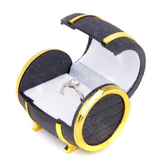 Retro barril de cerveza caja de joyería pulsera Almacenamiento de collares organizador funda, soporte de terciopelo anillo pendiente joyería embalaje y visualización Ca