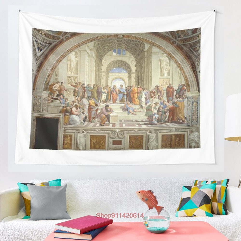 The School of Athens Italian Renaissance artist Raphael tapestry Wall Hanging Tapestries for Living Room Bedroom Home Decor