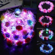 Corona de flores con luz LED para niños y mujeres, guirnalda oropel brillante, diadema luminosa, tocado para fiesta navideña