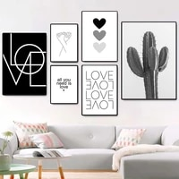 black and white cactus love hearts canvas painting hand in hand poster minimalist quotes decor modern wall art prints home decor