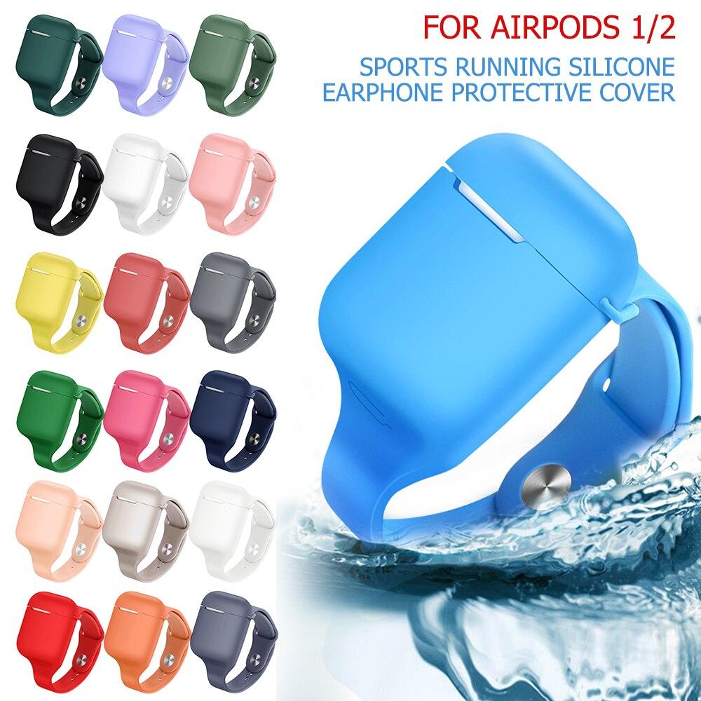 De silicona TPU inalámbrico auriculares Bluetooth con carcasa para los AirPods 1 2 correa de reloj deportivos para correr auricular caso para los Airpods 2 1