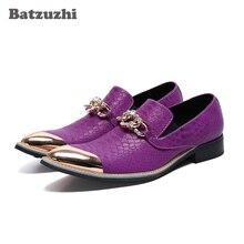 Batzuzhi Fashion Men Shoes Luxury Handmade Leather Dress Shoes Pointed Toe Purple Business Flats Shoes for Party and Wedding Men