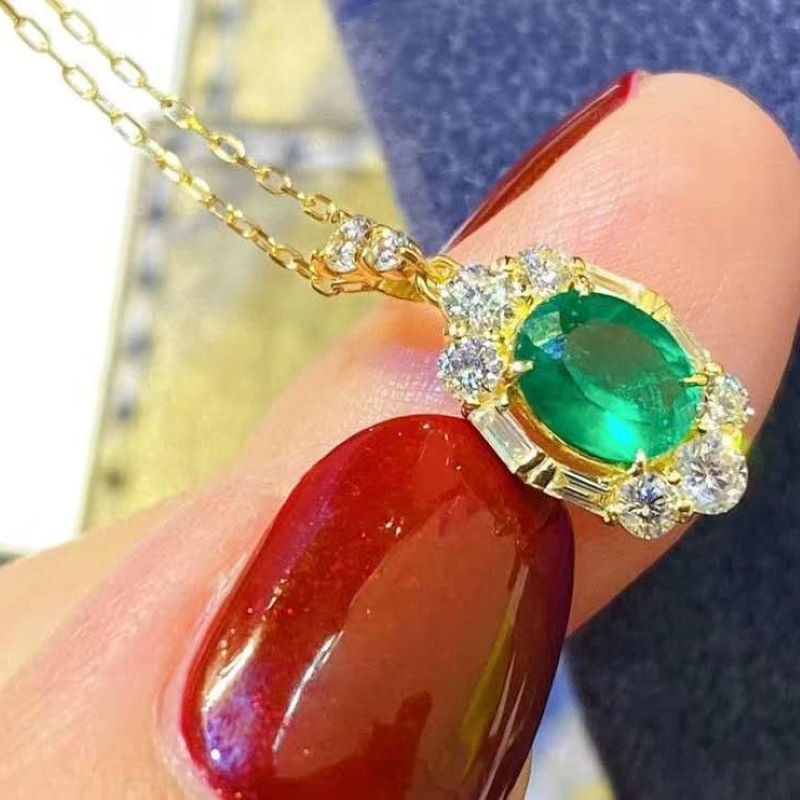 Promo Fashion Elegant Natural Columbian Emerald Pendant Necklace For Women Party S925 sterling silver Fine Jewelry Certificated Gifts