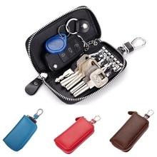 Car Key Holder Wallets PU Leather Keychain Covers Zipper Key Case Keys Housekeeper Organizer Genuine