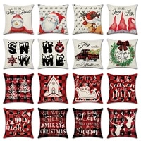 christmas cushion covers red plaid grid xmas decor linen throw pillow cover santa claus holiday home decorations pillow case new