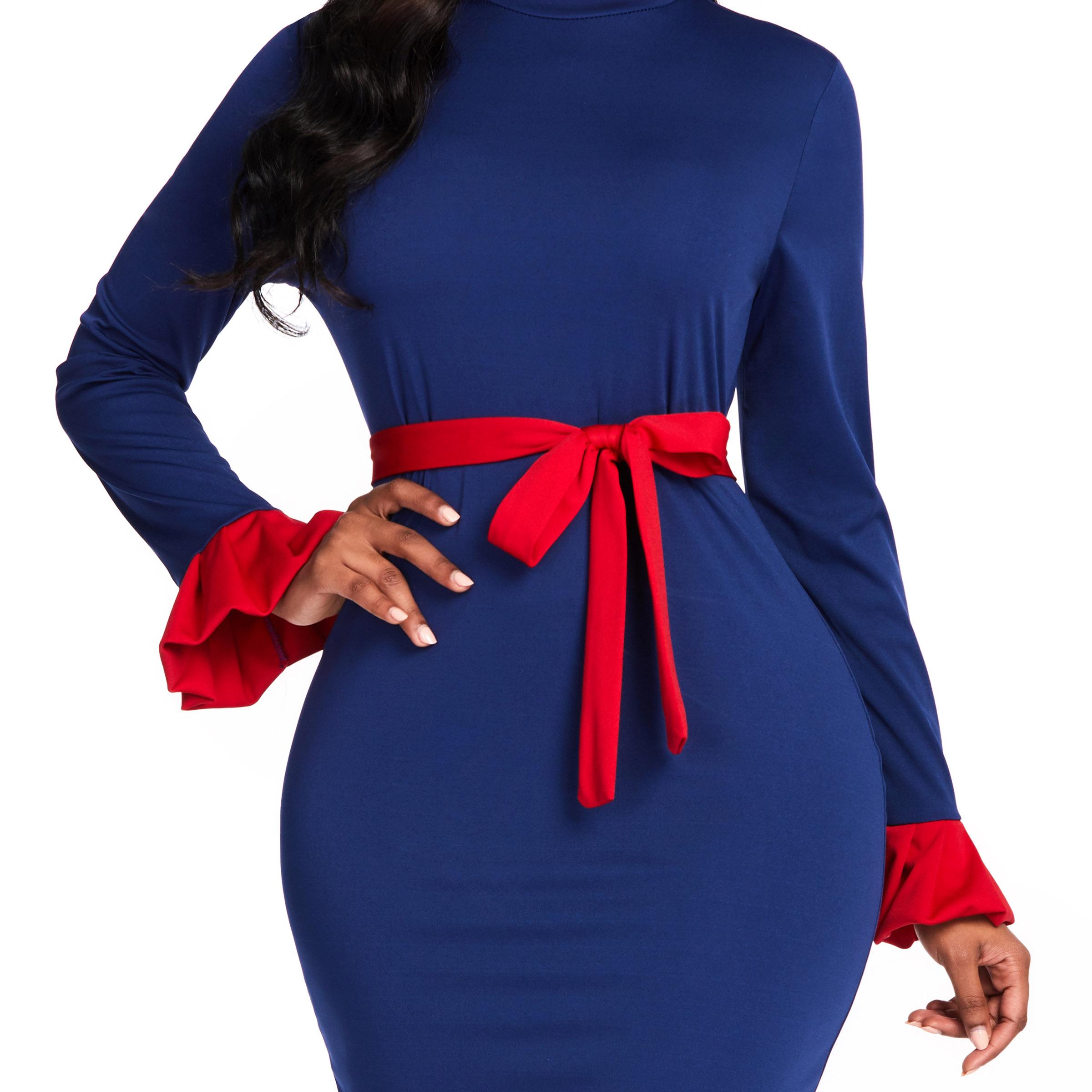 Африканский женский платье синий облегающий клеш длинный рукав середина икры 2021 лето весна платья Femme пояс цвет блок макси платья
