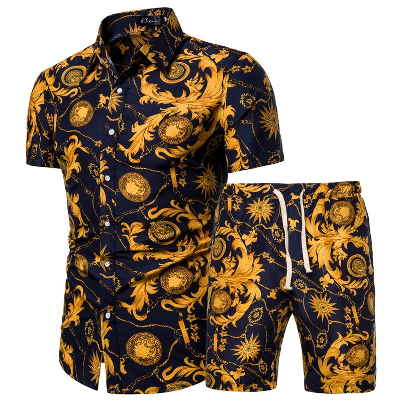 2020 Summer New Men's Clothing Short-sleeved Printed Shirts Shorts 2 Piece Fashion Male Casual Beach Wear Clothes
