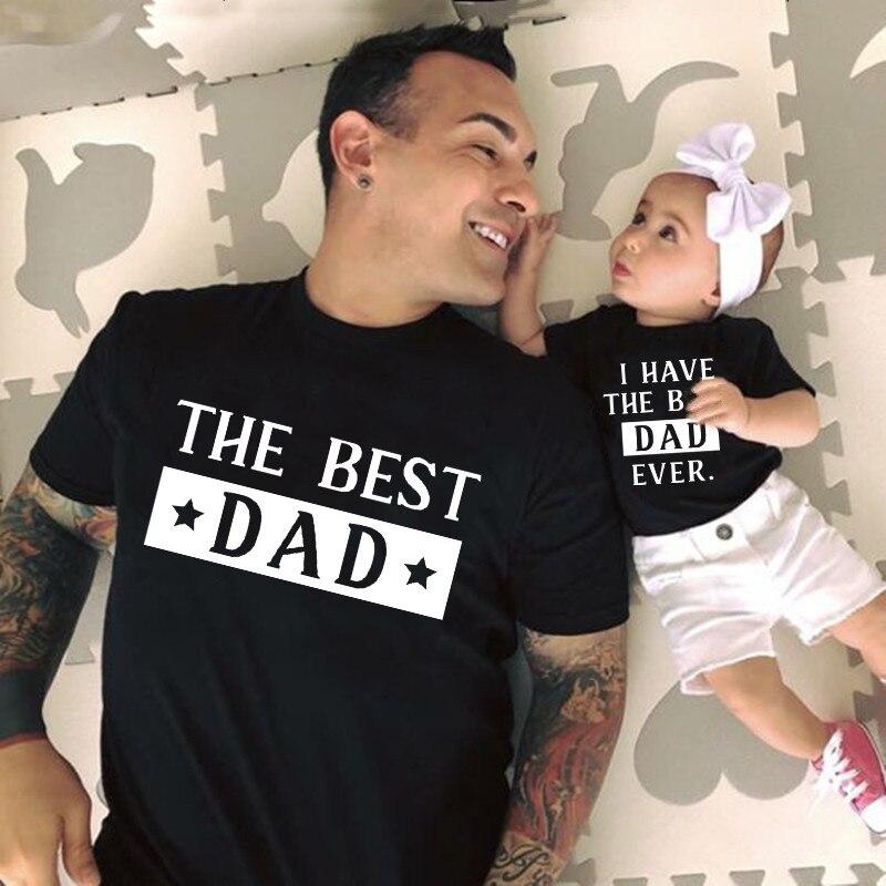 Семейная Одинаковая одежда для отца и дочери рубашки для сына лучший папа у меня лучший папа детские комбинезоны подарок для папы Сочетающаяся одежда для семьи      АлиЭкспресс