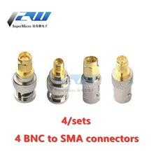 4 pièces/lot BNC à SMA connecteurs Type mâle femelle RF connecteur adaptateur Test convertisseur Kit câbles de Transmission SMA à BNC connecteur