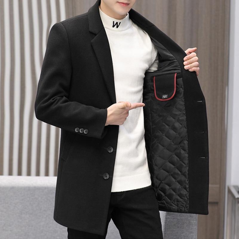 Business Outwear Men's Casual Autumn Winter Cotton Coat PlusSize Streetwear Heavy Woolen Overcoat Me
