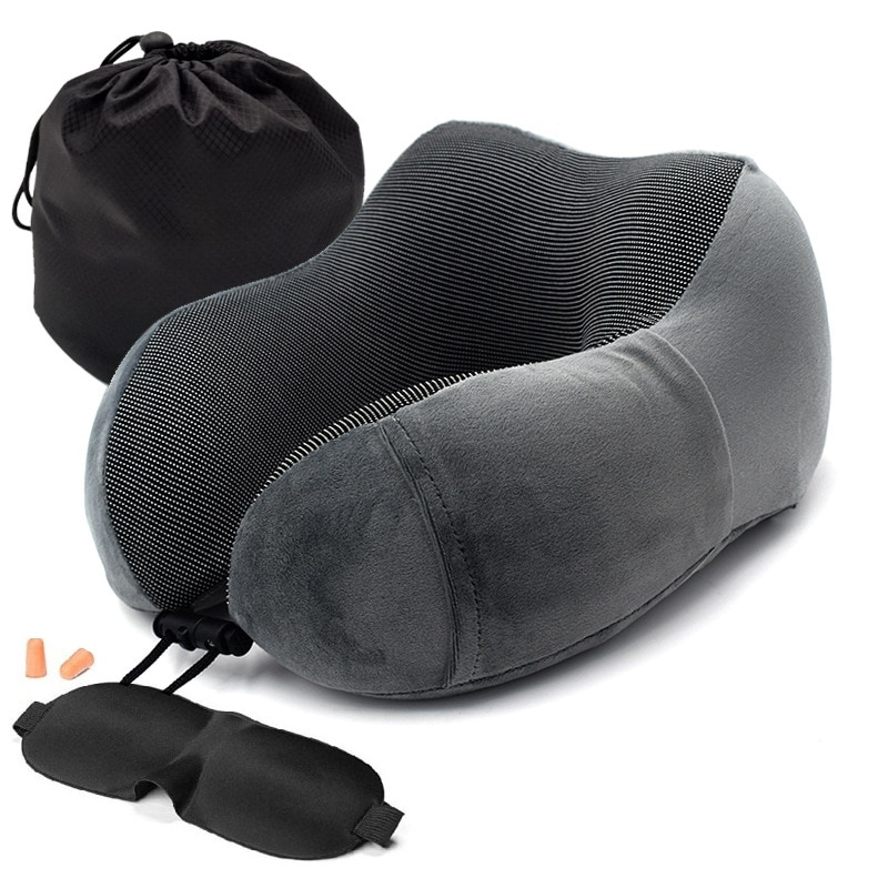 Car headrest U-shaped memory foam neck pillow soft slow rebound space travel solid neck cervical spi