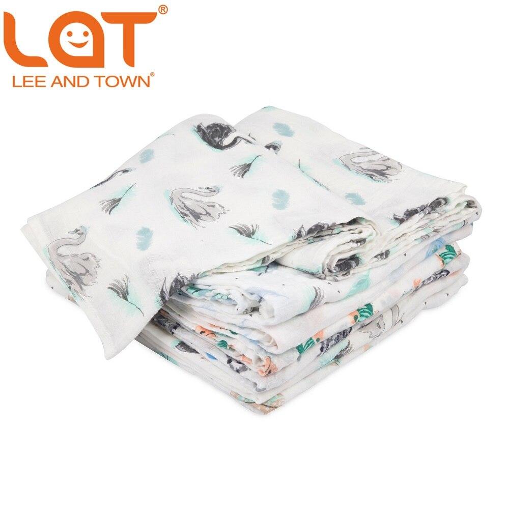 Бренд LAT, 100% хлопок, муслиновое Пеленальное Одеяло, премиум-качество, детское одеяло для душа, подарок, детское одеяло, 47
