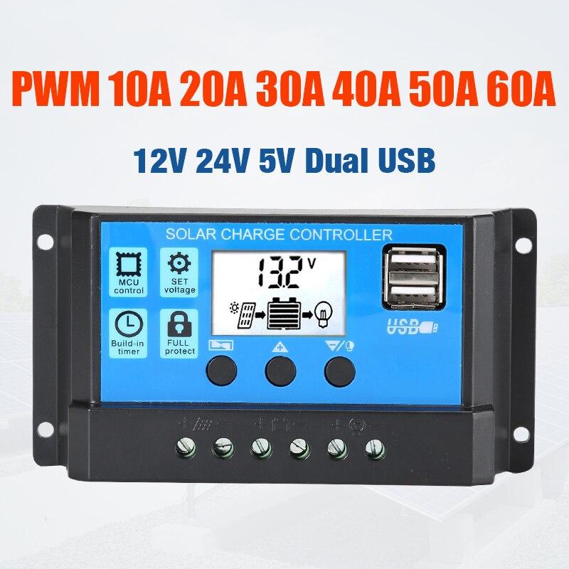 10A 20A 30A 40A 50A 60A controlador de carga Solar 12V 24V señal PWM automática de salida 5V regulador PV cargador de batería de Casa LCD Dual USB