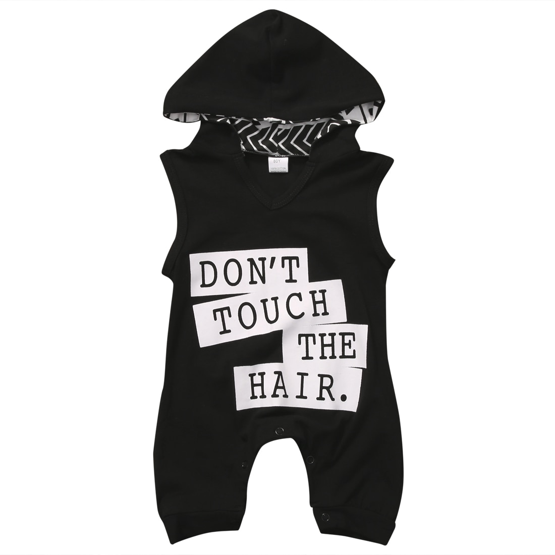 Pudcoco Newborn Toddler Baby Boys Clothes Letter Sleeveless Hoodies Romper Jumpsuit Summer Clothing 0-3Years