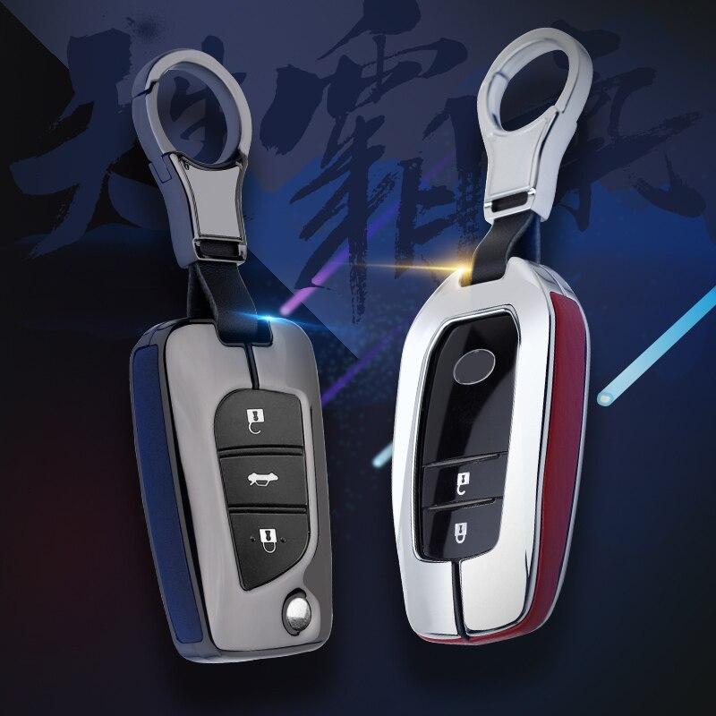 Funda de Metal de cuero para llave de coche para Toyota Yaris Camry Corolla Prado REIZ Crown RAV4 Hilux Auris Avensis Aygo Chr Prius Vitz