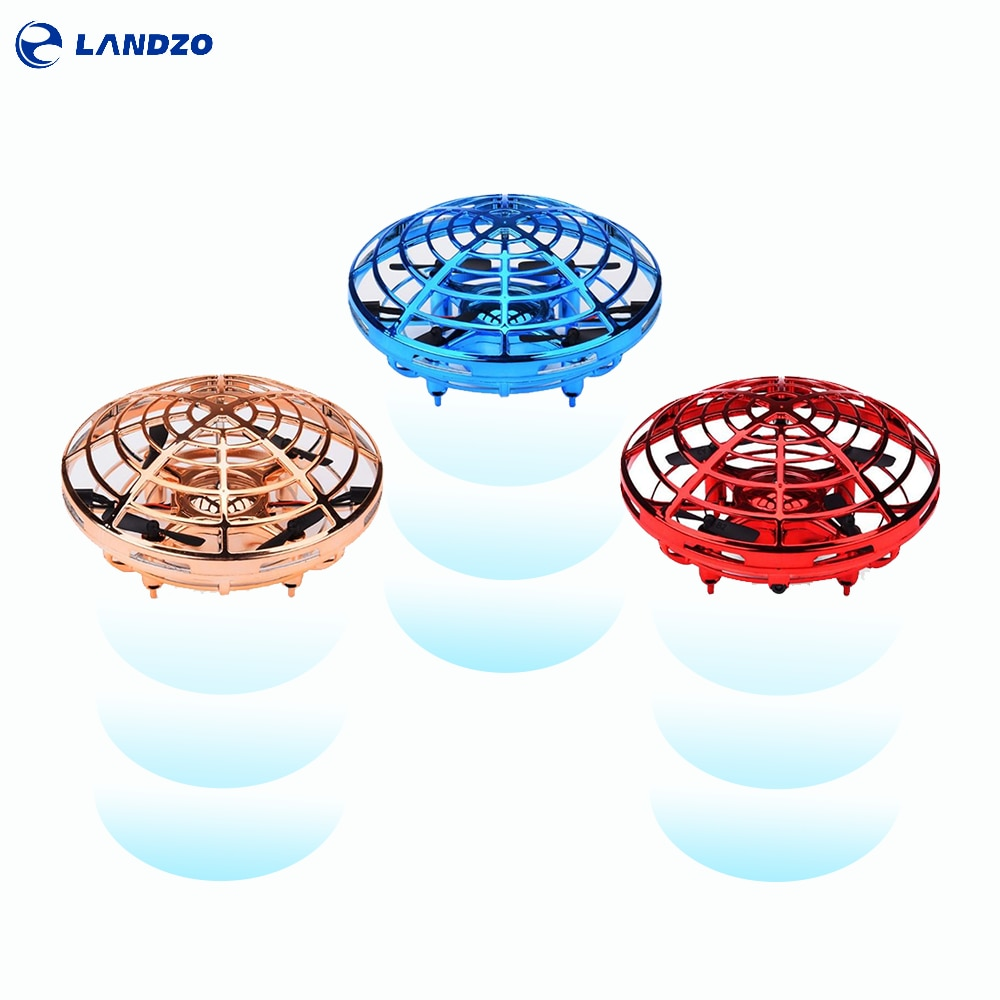Landzo Helicopter UFO Drone Toys Infraed Hand Sensing Induction RC Aircraft Upgrade Quadcopter for C