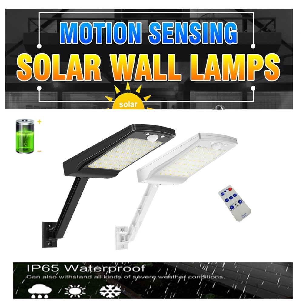 Led Solar Light Outdoor Waterproof Lightg For Garden Wall 48 leds three Modes Pole Lamp street wh So