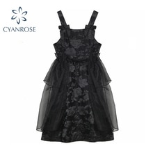 Women Black Gothic Off Shoulder  Dresses 2021 Summer Square Collar Ruffle Voile Paty  Embroidery Bla