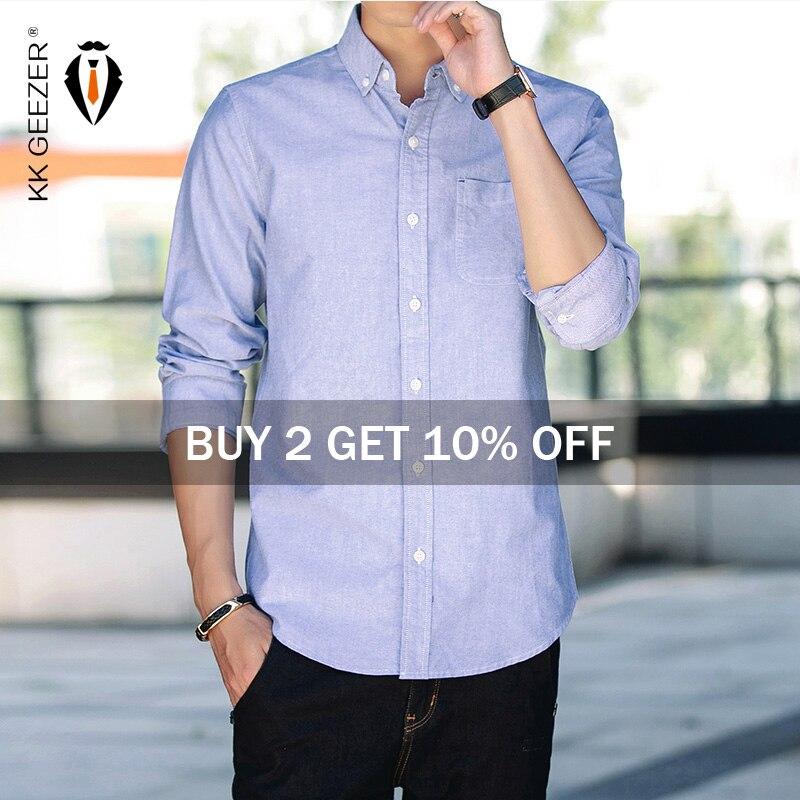 Camisa de algodón 100% Oxford para hombre, camisas informales de Otoño de manga larga ajustada para hombre, vestido de esmoquin, camisa de talla grande M-5XL Dropshipping