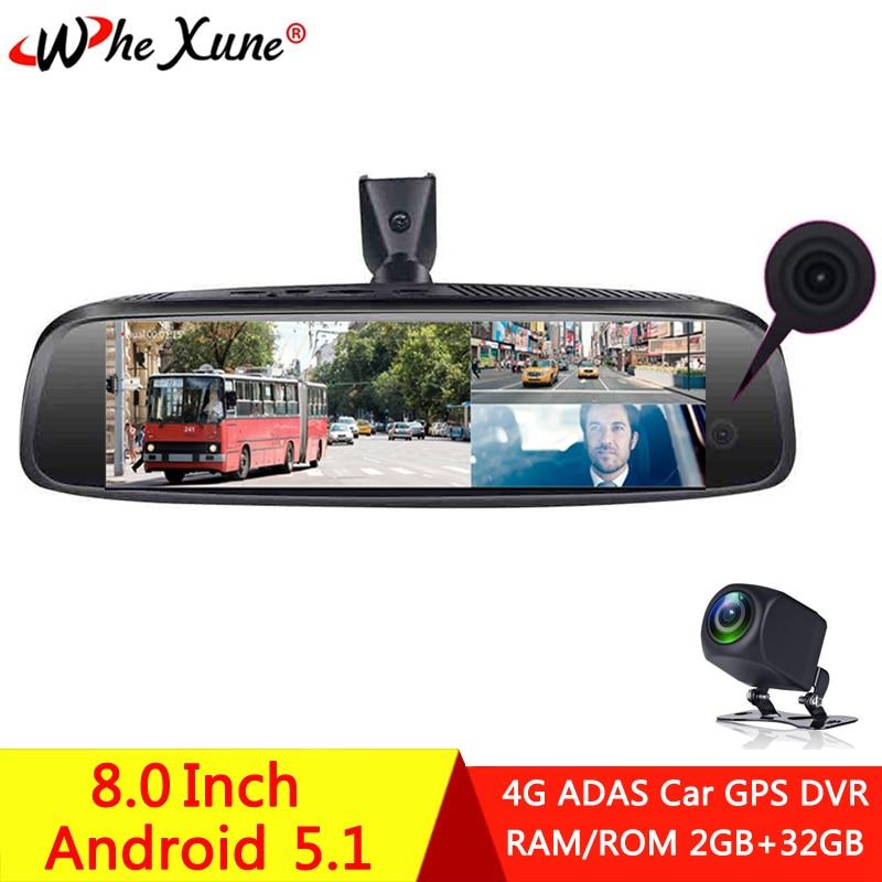 WHEXUNE 4G ADAS Full HD 1080P 3 Cámara coche DVR Dash Cam navegación GPS DashCam Android soporte especial espejo retrovisor grabadora