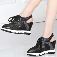 platform pumps women lace up genuine leather wedges high heel gladiator sandals female pointed toe fashion sneakers casual shoes