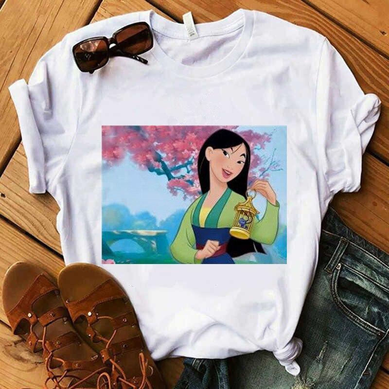 Linda princesa Mulan mujer 2020 moda camiseta mujer Harajuku camiseta divertida moda de verano Ulzzang Casual camisetas y camisetas
