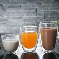 80250350450ml heat resistant double wall glass cup beer coffee cups handmade healthy drink mug tea mugs transparent drinkware