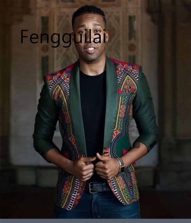 2019 nuevo diseño chaquetas de hombre Blazers otoño moda impresa Chaqueta de traje étnico Slim Fit fiesta/boda Casual Blazers macho tamaño de nosotros