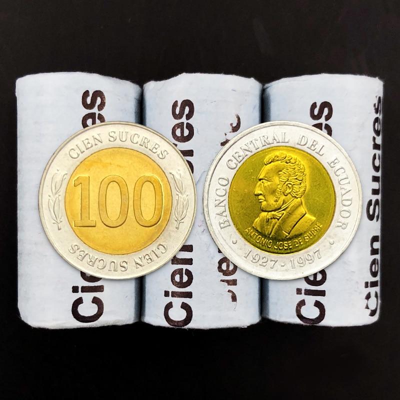 Ekwador 100 Sucre 1997 100% prawdziwe Unc oryginalne kolekcja monet monety