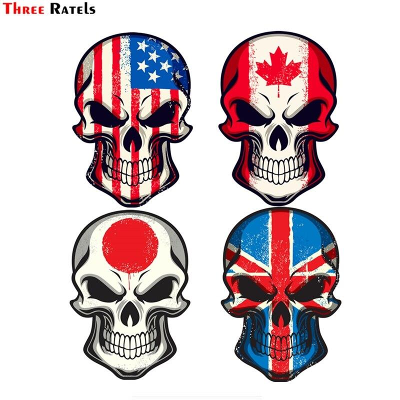 Три ratels FTC-793 #12x17,4 см Janpanese UK Британский национальный флаг США Канада Автомобильная наклейка с черепом на мотоцикле виниловая наклейка