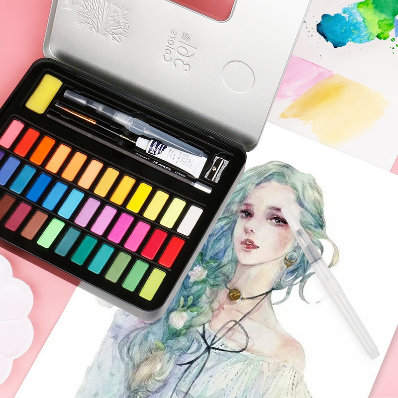 Continuous paint set of 48-colour watercolor with pigment of the water colour of the feather course of the water brush for