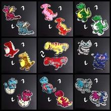 Big Dinosaur Patches Reversible Change Color Sequin 3D Sticker Stickers Embroidery Motif Applique Garment Kids DIY Clothes Badge
