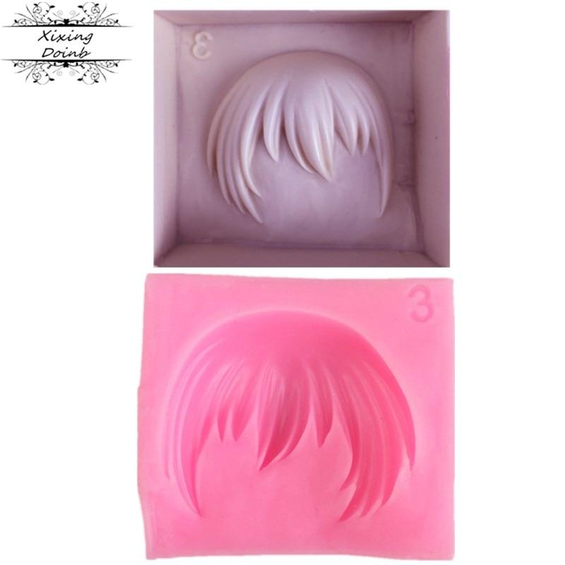 DIY new short hair shape silica gel mold chocolate cake decoration tool fudge craft mold cake mold