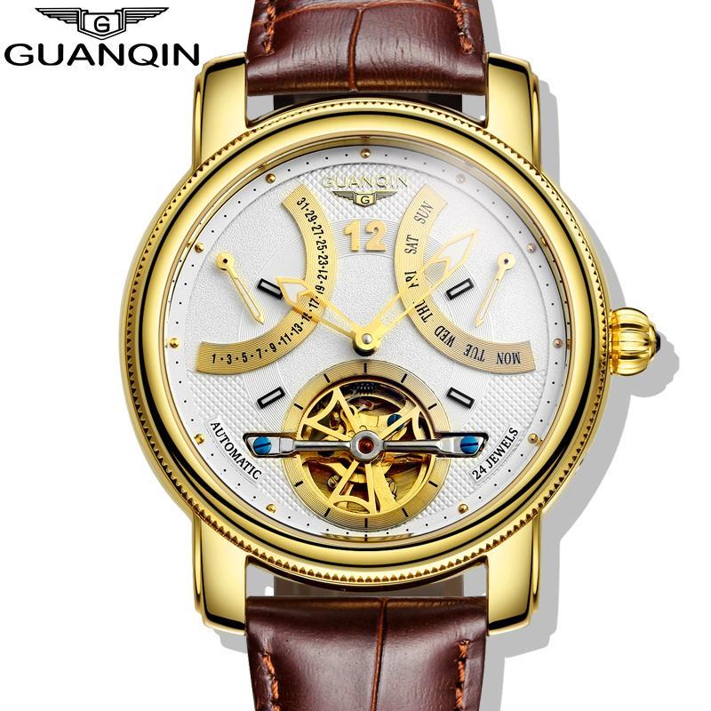 GUANQIN-ساعات بتصميم للرجال ، كرونوغراف للرجال ، ميكانيكية ، أوتوماتيكية ، كاجوال