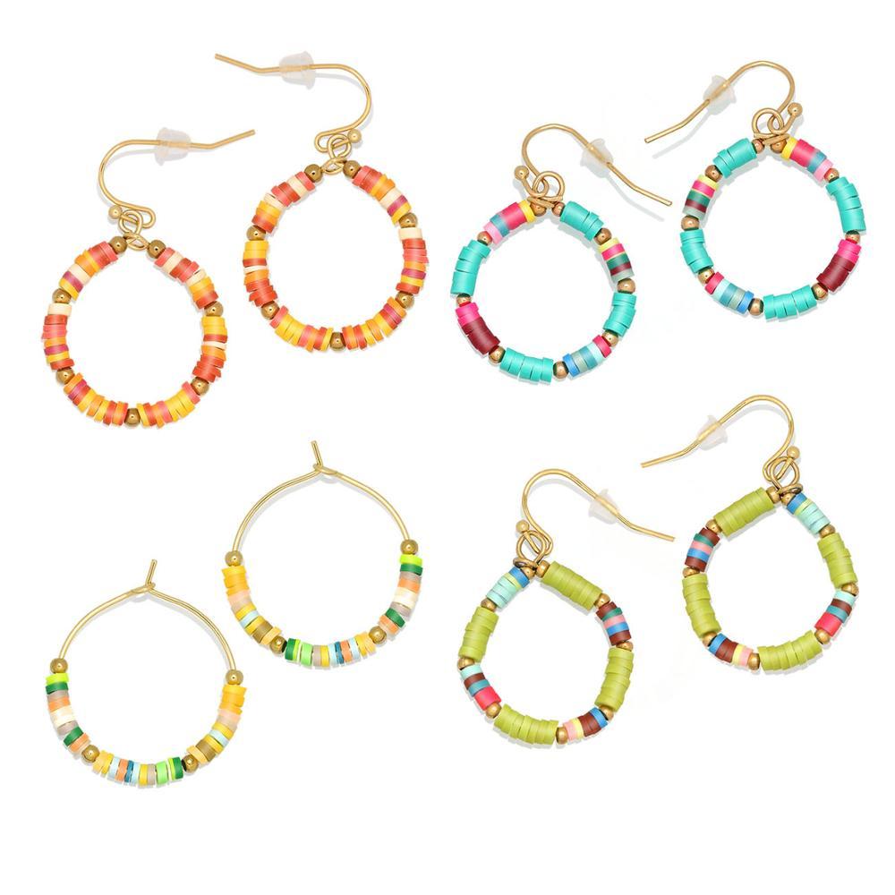 Boho Multicolor Fimo arcilla polimérica Heishi Beads Earings mujeres chica azul o naranja 3mm Bead Color claro verano Surfer joyería presente