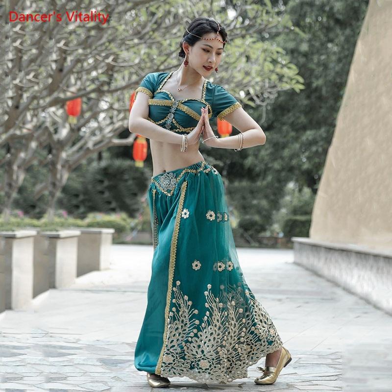 Танец живота наряд короткий рукав топ брюки индийская танцевальная одежда Женский Элегантный Восточный танец представление одежда компле...